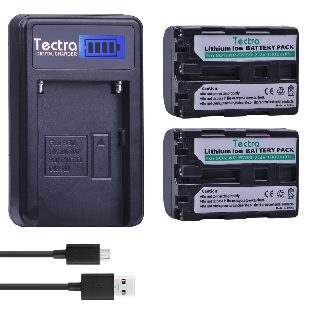 Tectra NP-FM50 NP FM50 Batteries (2Pack) + Smart LCD Display USB Charger for Sony NP-FM30 NP-FM51 NP-QM50 NP-QM51 NP-FM55H Battery and Sony M Type NP-FM50 Equivalent Camcorder / Digital Camera