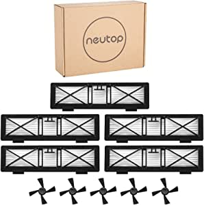 Neutop 5pcs Ultra Performance Filters+5pcs Side Brushes Kit Replacement for Neato Connected D5 D6 D7 Wi-Fi Enabled Vacuum, Botvac D Series D75 D80 D85 Models.