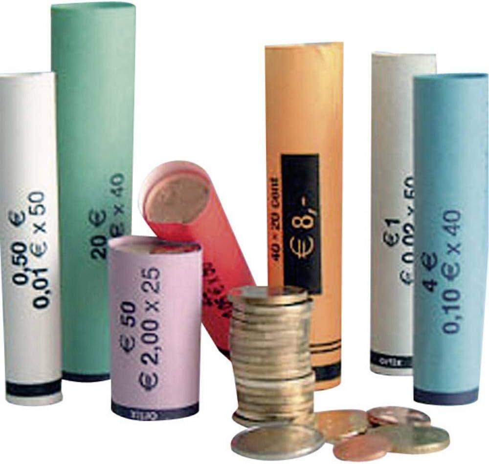Olympia 3701 - Rollos de papel para monedas, de 0,01 a 2,00 Euro B, paquete de 80 piezas [colores surtidos]