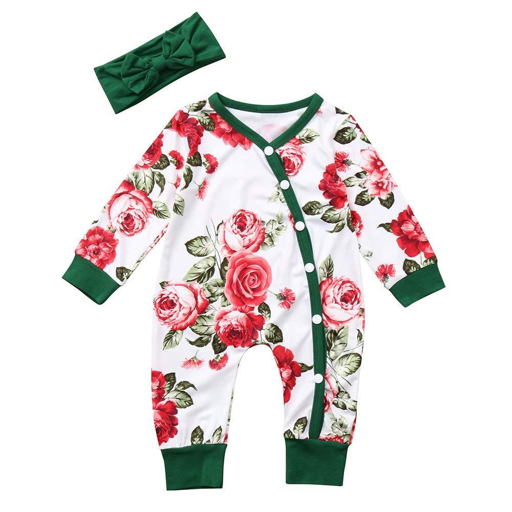 uBabamama Baby Girl Romper, Long Sleeves Flowers Print Romper+Headband Sets Kids Clothes