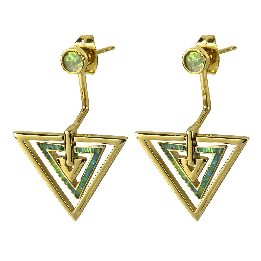 nOir Zella 14kt Gold Plated Earrings Jacket with Opal Trimming