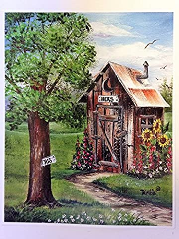 His Hers outhouse painting print bathroom wall decor (His And Her Bathroom Decor)