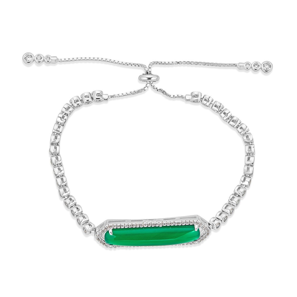 Platinum Plated Sterling Silver Green Agate Miami Bracelet