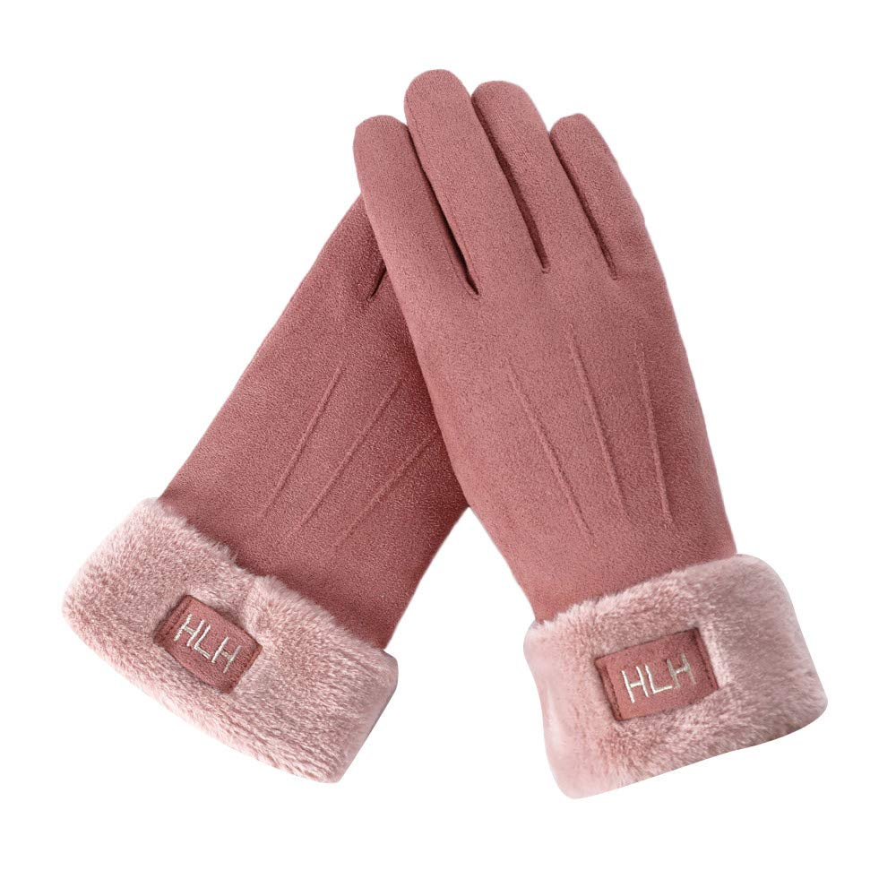 FeiBeauty Frauen feste Farbe Wildleder Buchstaben bestickt Label Temperament lange Stapel warme Handschuhe im Freien winddichte Schnee Handschuhe kö nnen den Bildschirm des Mobiltelefons berü hren