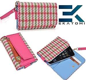 PiNK & GREEN Checker Pattern  Universal Samsung I110 Illusion Carrying Case Wrist-let Wallet BONUS EKATOMi Screen Cleaner*