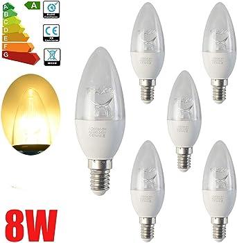 ALBRIGHT (6 Pack) E14 Bombillas LED Vela 8W, LED luz de vela ...