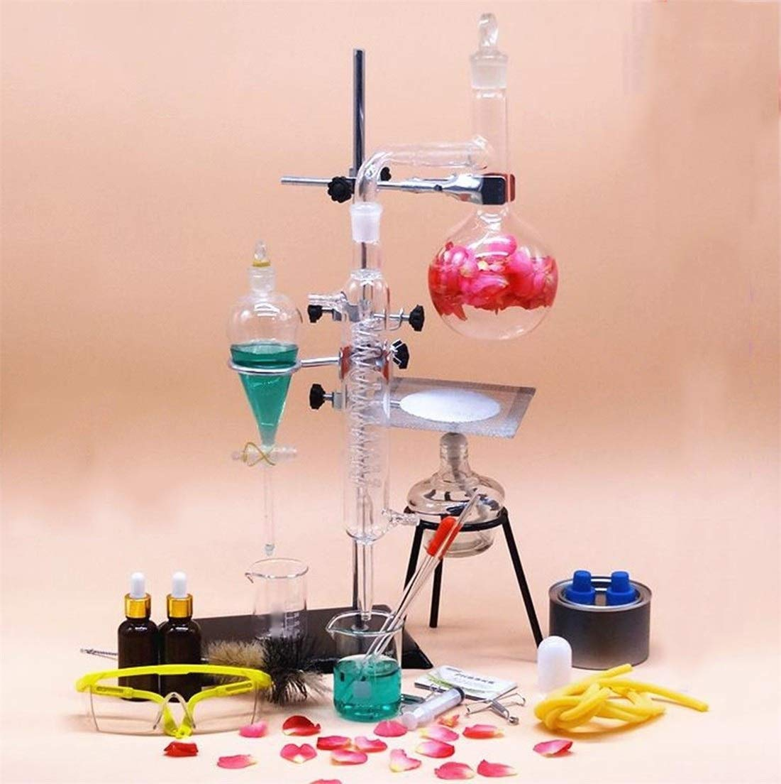 Wyyggnb Laboratory Equipment, Distillation Unit Teaching Equipment Glassware Making Essential Oils Alcohol Distilled Water Filter Chemical Equipment by Wyyggnb