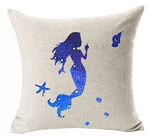 Hermoso acuarela azul estrella cielo Lovely Little Mermaid ...