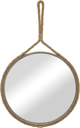 Stonebriar Round Decorative Mirror with Metal Frame Rope Hanging Loop for Wall, Nautical or Farmhouse Home D cor
