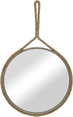 Stonebriar Round Decorative Mirror with Metal Frame & Rope Hanging Loop for Wall, Nautical or Farmhouse Home Décor