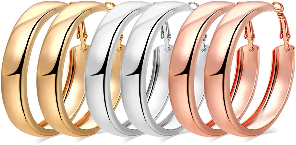 3 Pairs Fashion Hoop Earrings,30mm Stainless Steel Big Hoop Earrings in Gold Plated Rose Gold Plated Silver for Women Girls