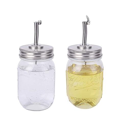 Amazon.com: Mason Jar Tapa para verter aceites, 2 unidades ...