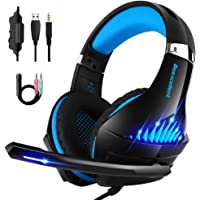 Beexcellent Gaming Headset for Xbox One, PS4 and PC with Microphone, Noise Cancelling Over-Ear Headphones with Mic, Led Lights, Volume Control (Beexcellent) (Blue)