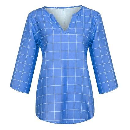 VEMOW Blusas Mujer Tops Camisetas Mujer Tallas Grandes Cuello en V ...