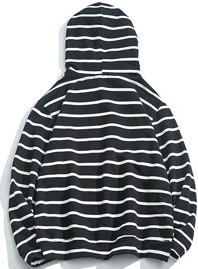 Bloomyma Mens Casual Sport Stripe Pocket Front Plus Size Hoodie Hooded Sweatshirt