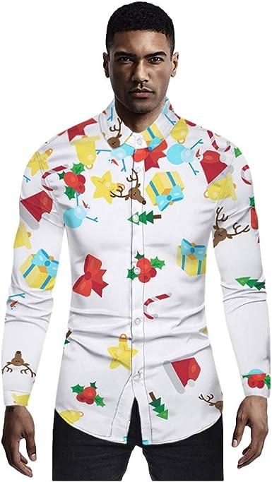 BaZhaHei Camisas de Navidad Estampadas Divertidas para Hombre Cuello Abotonado Tops de Manga Larga Camisa de Disfraces Hawaiana de Navidad para la Fiesta del Festival Ropa Informal Otoño Invierno: Amazon.es: Ropa y