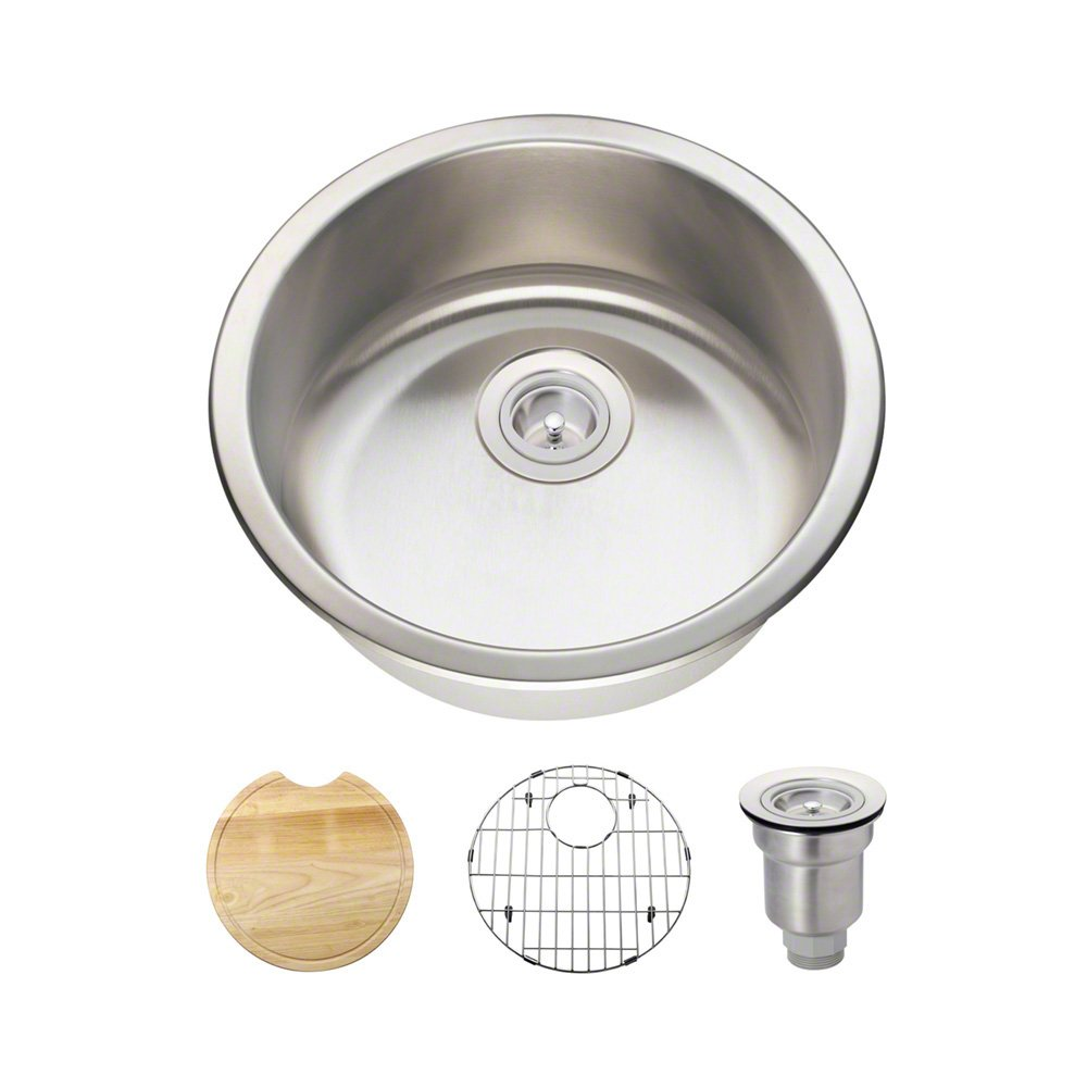 465 18 Gauge Stainless Steel Kitchen Ensemble Bundle – 4 Items Sink, Basket Strainer, Sink Grid, and Cutting Board