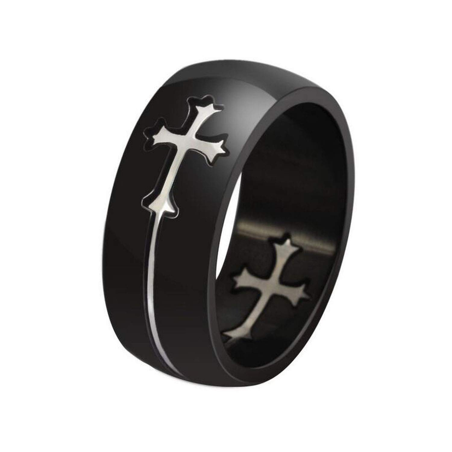 Stainless Steel 2 Color Female Gender Symbol Flat Band Ring