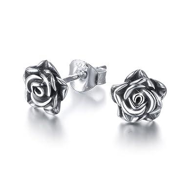c6de7a2eb DAOCHONG Rose Stud Earrings S925 Sterling Silver Valentines Flower Studs  Oxidized for Women Girls: Amazon.co.uk: Jewellery
