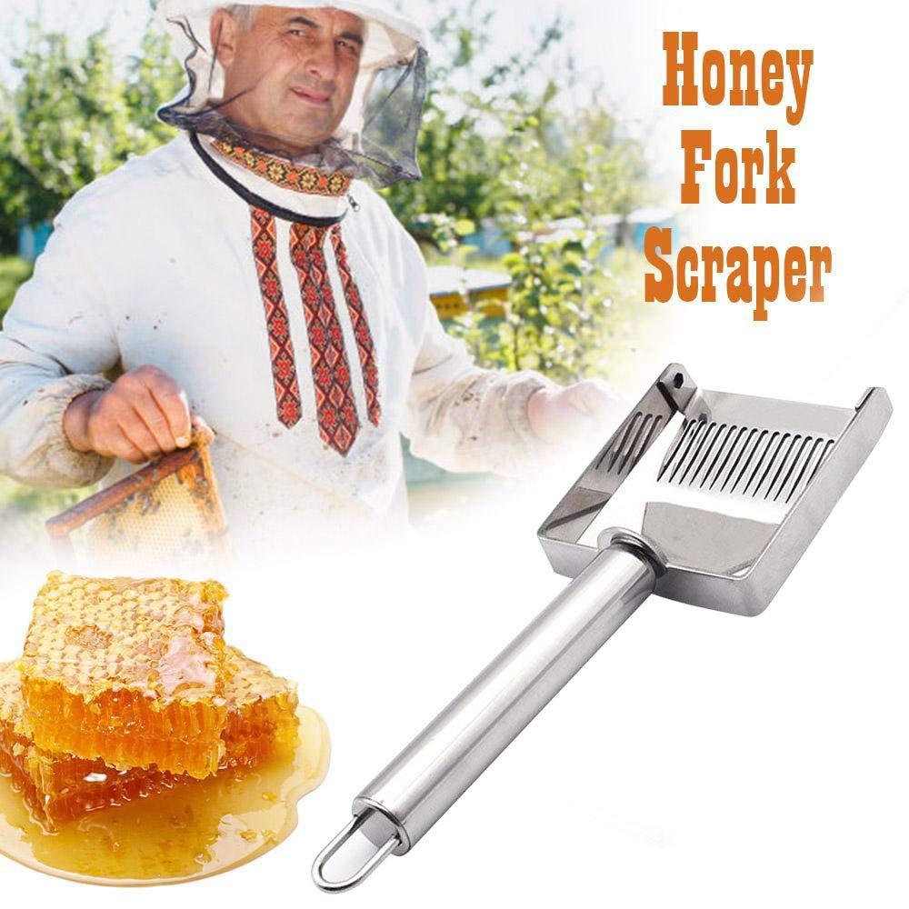 Nicknocks Honey Uncapping Fork Stainless Steel Honey Scraper Fork Beekeeping Honey Uncapping Fork Shovel Tools