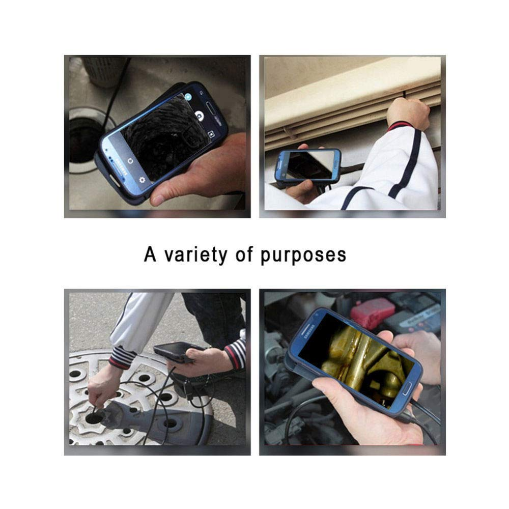 Inspection Camera MASO IP67 Waterproof Wireless HD 720P Endoscope Camera with one Small Hook,WiFi Box Sucker,6 Led Lights Adjustable,Cable Length 2 M,Compatible with iOS//Android//Windows//Mac System