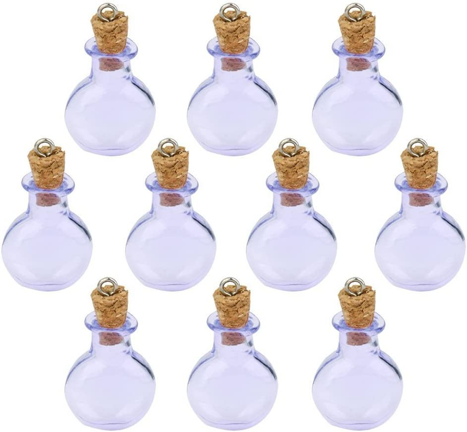 WINOMO botellas de cristal con tapón corcho botellas de cristal vacío Morado 10piezas
