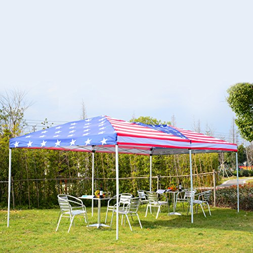 [Outsunny 10' x 20' Pop-Up Canopy Shelter Party Tent with Mesh Walls - American Flag] (Pop Up Flag)