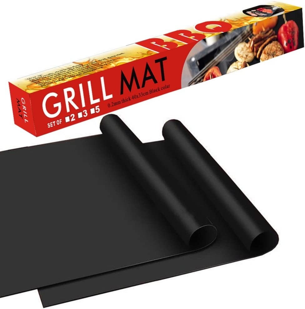 BBQ Grill Mat – 100 Safe Non Stick BBQ Grill Mat, Easy to Clean and Reusable, Perfect for Charcoal, Electric and Gas Grill, Set of 2 16 x13
