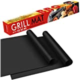 """BBQ Grill Mat - 100% Safe Non Stick BBQ Grill Mat, Easy to Clean and Reusable, Perfect for Charcoal, Electric and Gas Grill, Set of 2 (16""""x13"""")"""