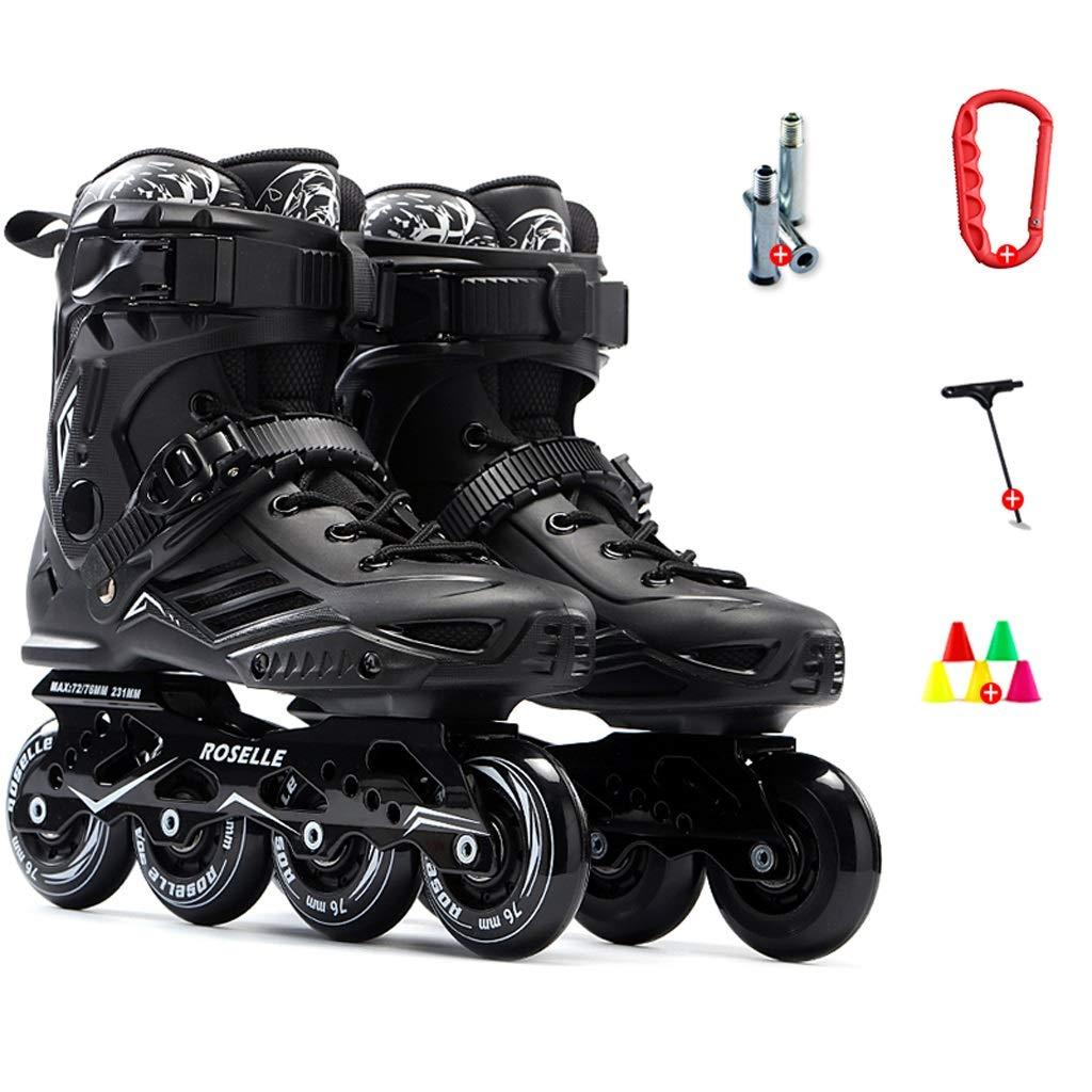 スポーツインラインスケート、初心者に適した女の子と男の子のためのファッションスケート、プロスピードスケート靴、35-46ヤード2色 (色 : ブラック, サイズ さいず : EU 38/US 6/UK 5/JP 24cm) ブラック EU 38/US 6/UK 5/JP 24cm