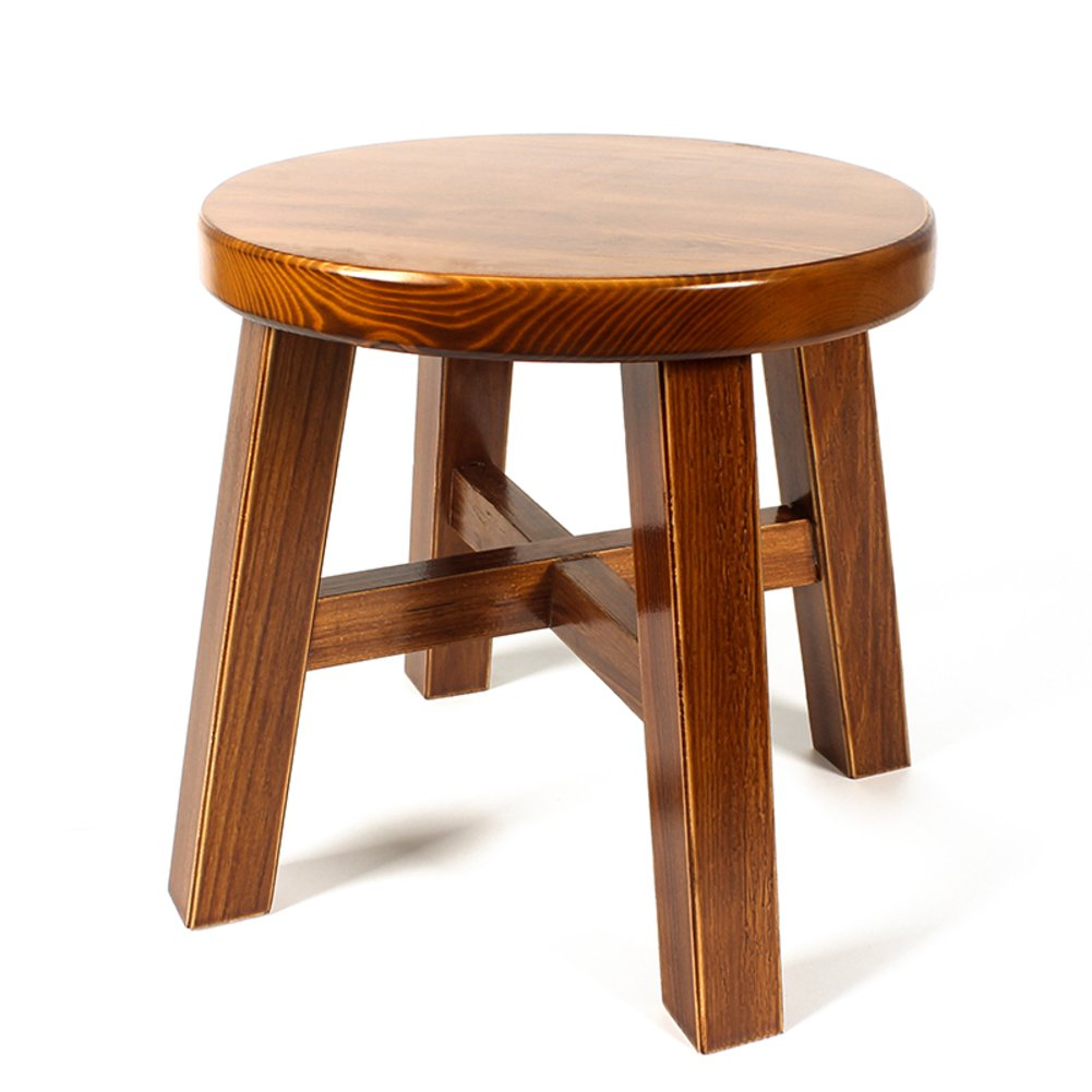 D&L Solid wood Vintage FootStool, Creative Home Living room Seat Stool Round 4 legs Wooden Shoe Stool-A L28xW28xH27cm