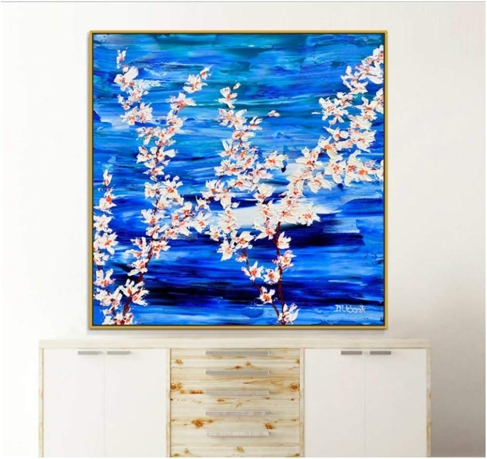 XIANGPEIFBH Flores Blancas pétalos follaje bodegones Pinturas pintadas sobre Lienzo decoración para pared-50x50cm con Marco