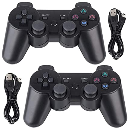 2095e1a0 PS3 Controller Wireless 2 Pack Double Shock Bluetooth Joystick Gaming  Controller for Playstation 3 with Charger Cable (PS3 Controller 2 Pack,  Black)