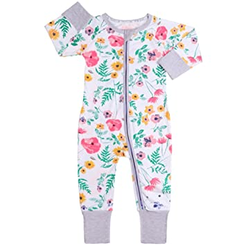 ef49ab1d8e56 Baby Girls Rompers Pajamas Cotton Onesies Jumpsuit Toddler Zipper Outfits