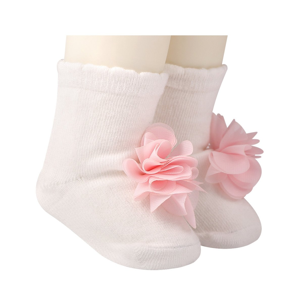 GZMM Baby Girls Socks Cotton Seamless Non-Skid 3Pairs Packs Cute Flower Ornament