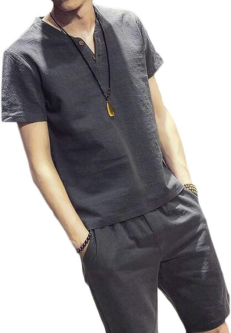 JYZJ Men Solid Color 2 Pieces Outfits T-Shirt Shorts Summer Cotton Linen Tracksuits