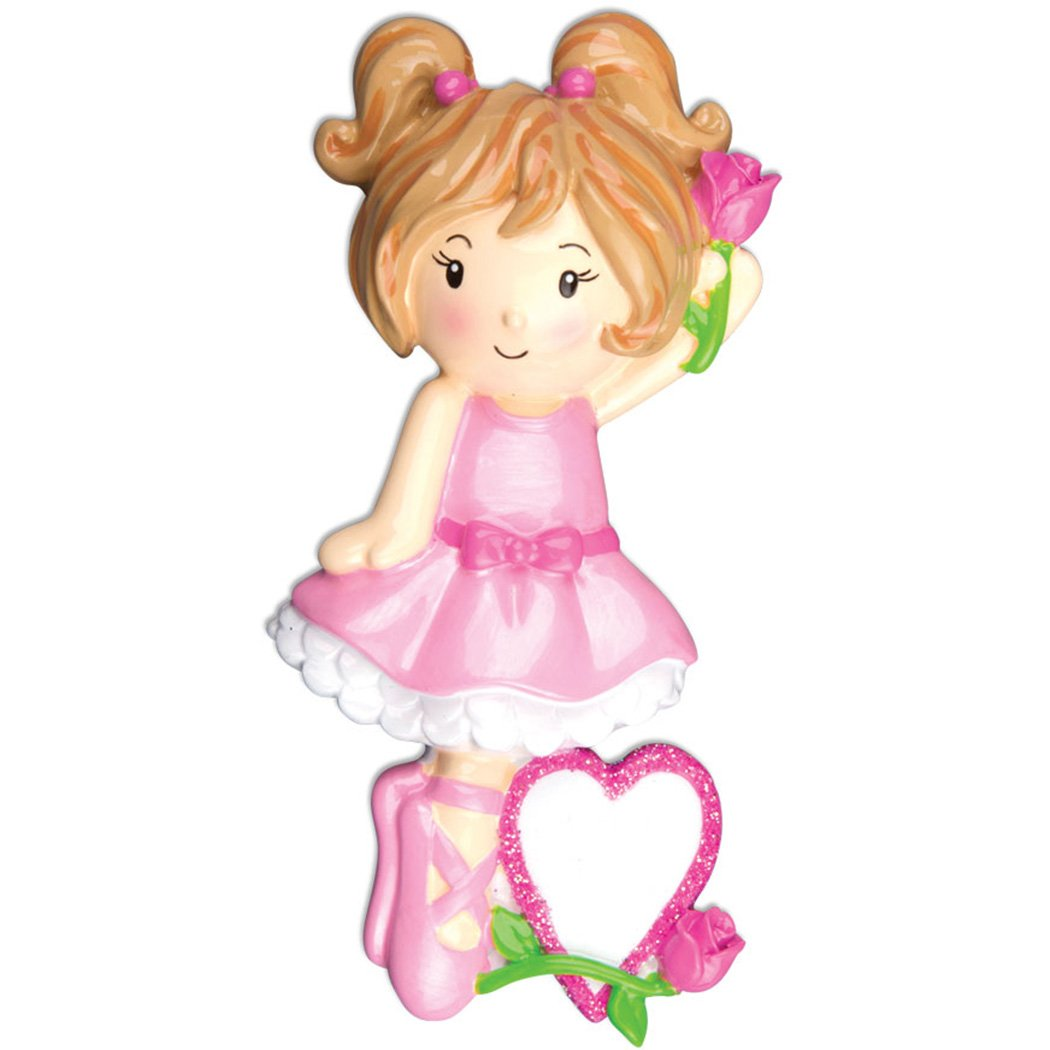 Personalized Ballet Girl Christmas Ornament for Tree 2018 - Pink Dress Rose Pointe Shoe Dress with Glitter Heart - Love Dance Free Performance School Child Toddler Dream- Customization by Elves