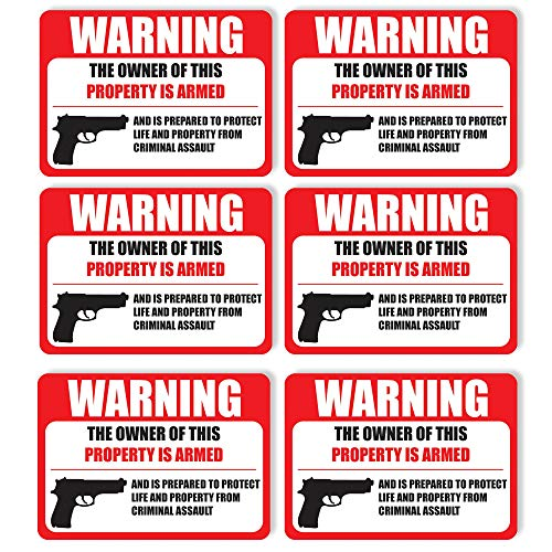(6 Pack) PROTECTED BY ARMED PROPERTY OWNER Sign -Self Adhesive 2½ X 3½