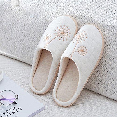 Hiver Des Coton à D'Hiver Pantoufles Dérapantes Épais la Maison à Douce Pantoufles la Mi avec Et D'Automne L'Intérieur Chaude Anti Et D'Intérieur de De à Blanc Maison Xqxnfw5US