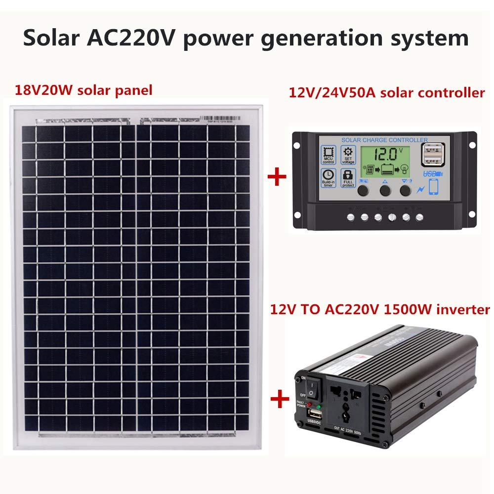 Adatto A Sistema Allaperto E Casa Ac220v Solar Energy-Saving Power Generation(60a) 1500w Inverter Ac220v Kit TOOGOO 18v20w Panel 12v // 24v Controller