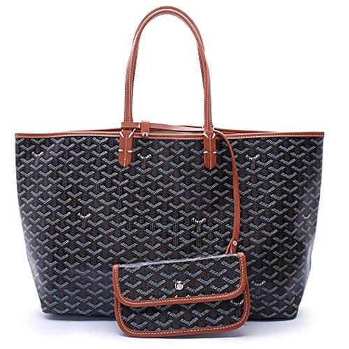 40dc30d5082 CharlestonDe Lady Tote PU Leather Shoulder Bag Set (M Size, Blackbrown)