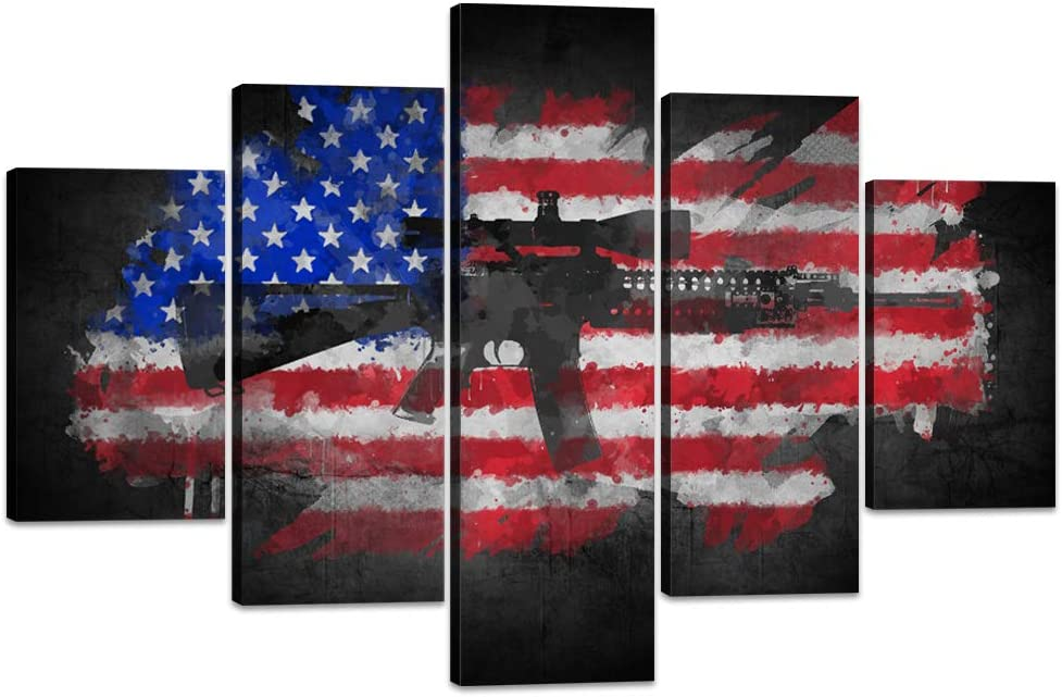 Amazon Com Usa American Flag Canvas Wall Art Us With Cool Gun Painting Military Pictures Modern Patriotic Posters And Prints Artwork Living Room Bedroom Office Decorations House Warming Presents 60 Wx40 H