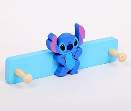 YOURNELO Cute Wooden Cartoon Characters Animals Decorative Coat Rack 2 Hooks for Childrens Bedroom (Stitch)
