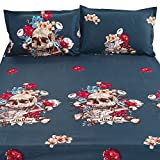 Junhome Sheets Queen Size,3d Floral Skull Fitted Sheet Queen Size,Day of the Dead Sugar Skull Flat Sheet Queen Size,Home Decor 4 Piece Bedding Set with 2 Pillow Shams Queen