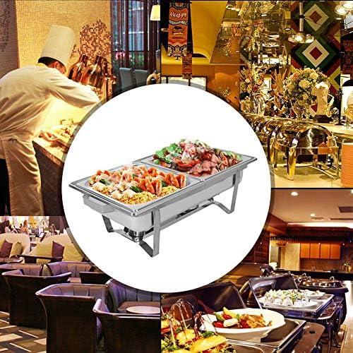 2 pezzi Scaldavivande in Acciaio Inox, Scaldavivande da Buffet con 2 slot, 9L Stufa Buffet Contenitore Vassoi di Riscaldamento, rettangolo, 60x35x32cm, argento