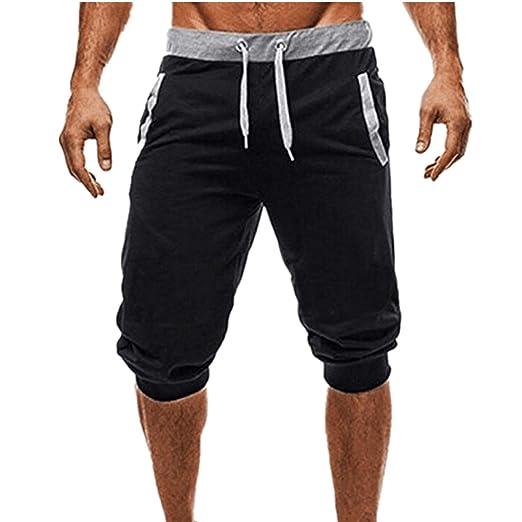 ab4536b3965c ZOMUSAR Men Casual Sport Mid Waist Fitness Leggings Elastic Waist Stretchy  Bodybuilding Bermuda Sweatpants (M