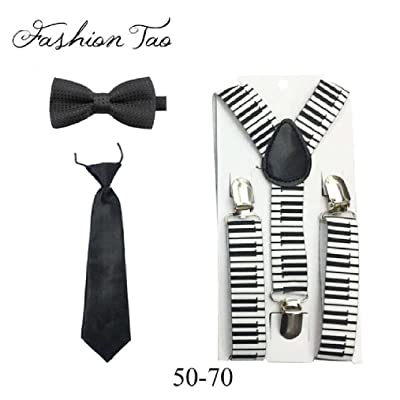 Children Pants Y-Back Adjustable Elastic Braces Zebra Tie Bowtie Set