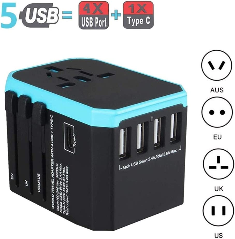 NO LOGO JNT- Viajes 5USB Adaptador de Cargador de Pared Adaptador de Corriente Universal Adaptador de enchufes eléctricos en Todo el Mundo sockets Converter for teléfonos móviles