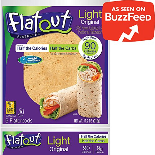 FLATOUT Flatbread Wraps - LIGHT ORIGINAL - 90 Calories - 2 Weight Watchers SmartPoints value per flatbread (2 Packs of 6 Flatbreads)