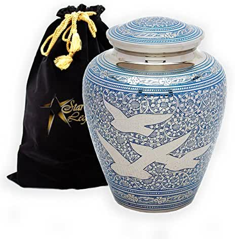 Star Legacy's Wings of Freedom - Brass Metal Cremation Adult Urn for Human Ashes w Velvet Bag